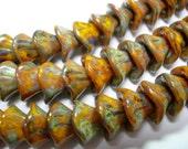 12 beads - Sunflower Gold Picasso Czech Glass 3 petal Flower Beads 10mm