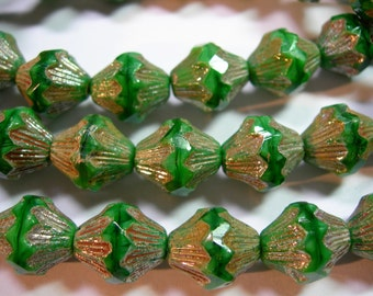 15 14x12mm Czech Glass Faceted Baroque Bicone Beads - Emerald Silk Picasso