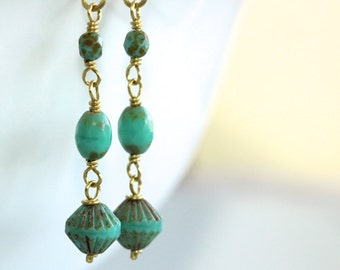 Long Turquoise Earrings - 'Chaotic Outing'