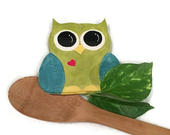 Owl Spoon Rest / Jewelry Dish - Lime Green and Teal Blue - Ready to Ship