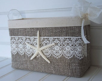 Coastal wedding card basket with starfish and lace