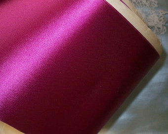 "1 yd. of magenta/cerise vintage satin and faille ribbon 4 3/8"" wide"