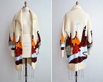 SALE / Vintage 1980s art knit sweater coat