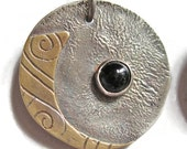 Round Silver and Brass Disc with Black Onyx Earrings