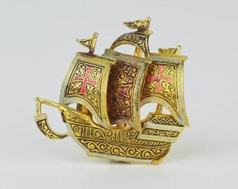 Vintage Goldtone Damascene Galleon Ship Brooch | 60s Style, Toledo, Spain | FREE Shipping!