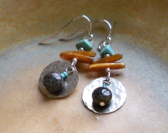 Organic Sterling Silver, Turquoise, and Bronzite Dangle Earrings