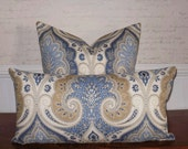 Decorative Pillow Cover:  Kravet Designer Paisley Linen 12 X 24 Accent Throw Pillow Cover