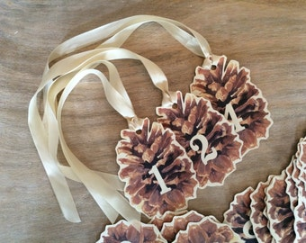Pine Cone Christmas Countdown Tags - Advent Calendar - Holiday counting tags