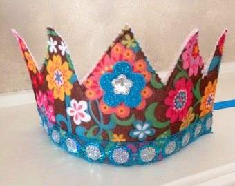 Colorful Flower Princess / Birthday Crown  toddler, fairy, hat, dress up, infant