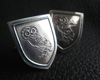 Custom Sterling Silver Cufflinks with Minerva Athenian Owl -  EXAMPLE