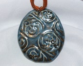 Antique Blue Ceramic Pendant -- FREE shipping in the USA