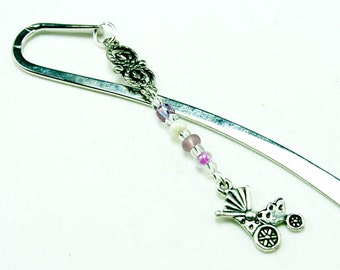 Baby Stroller Bookmark. Baby Shower Favor. Silver Bookmark with Baby Charm. Purple Bookmark. SBK012