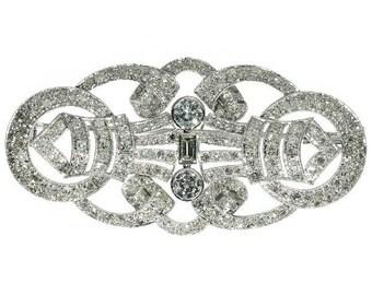 Platinum and Diamond Brooch Over 5 Carat Diamonds 1950's