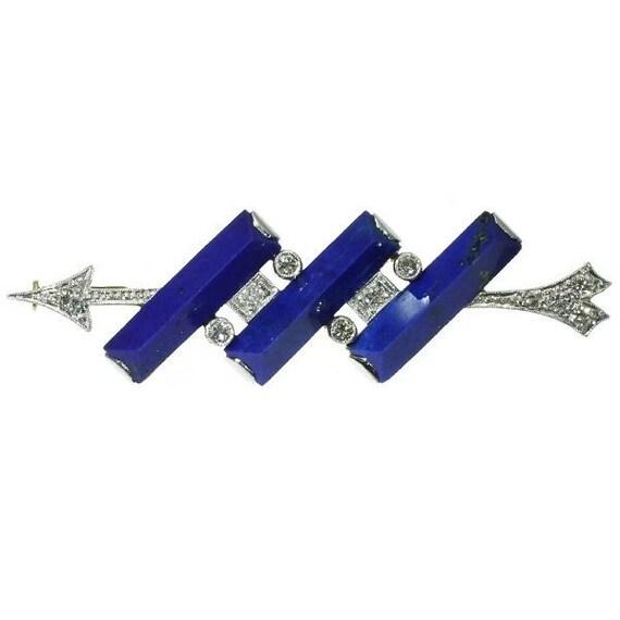 Vintage blue lapis lazuli brooch diamonds arrow platinum gold 1940s ref.10015-4350