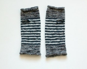 Neutral Stripe Hand-Knit Wrist Warmers