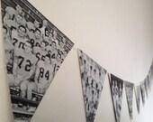 Paper Banner Decoration - 1965 Geneva College Yearbook Sports Teams Photos - Triangle Bunting Garland - Super Fun Retro Decoration