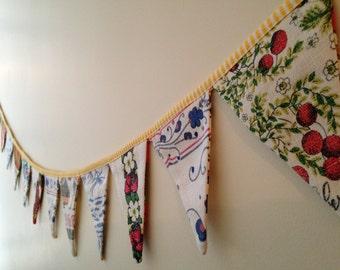 Vintage Tea Towel Bunting - Handmade Fabric Garland - Unique Housewarming Gift - Fun Party Decoration