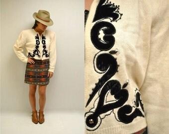 Angora Sweater //  Embroidered Beaded Cardigan  //  THE STEVEDORO