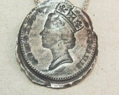 Silver Queen Coin Necklace.Silver Coin Pendant.Coin Replica.Vintage Style.Recycled Metal.Queen symbol. Mother Anniversary. Valentine gift