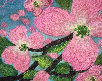 This fiber art quilt is for sale. It's silk painted. resulting in gorgeous color. Stylized  dogwoods art set against a blue sky. Reasonable.