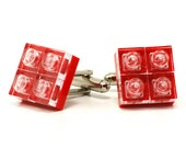 Diamond style cufflinks in red made with LEGO® bricks FREE SHIPPING gift idea