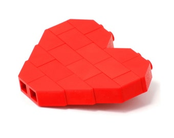 Red heart brooch made with LEGO® bricks lego gift