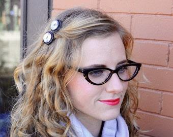 Glitz and Glitter Button Mini Hair Combs