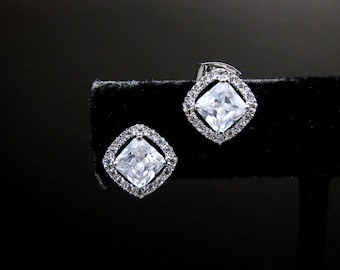 bridal earrings wedding jewelry prom party bridesmaid christmas gift square rhombus princess cut cubic zirconia post white gold silver stud