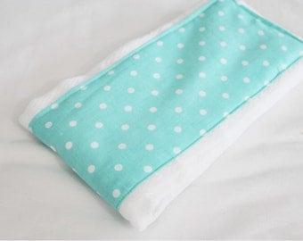 Aqua Polka Dots Baby Burp Cloth