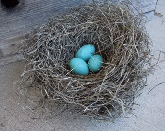 Rustic Wedding Bird Nest Handmade with Robin's Eggs Farmhouse Decor Perch and Patina