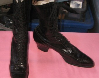 Granny Get Gun Great Lace Up Victorian Boots Pointy Toe  SteamPunk Black Leather