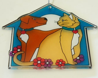 Vintage 80s-90s Cat And Dog Sign Ornament Shelter Ornament