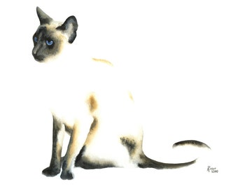 Limited Edition GICLEE Print / Watercolor Portrait of a Siamese Cat