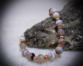 Stone Beaded Copper Bracelet Size 7 1/2 inch