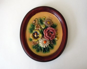 Vintage Napcoware Wall Plaque - Floral Wall Decoration - vintage decor - muted tones - brown