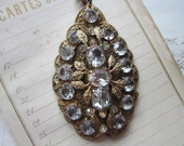 large vintage filigree pendant on chain - rhinestones, leaf motif - 2 x 3.25 inches - older style clasp