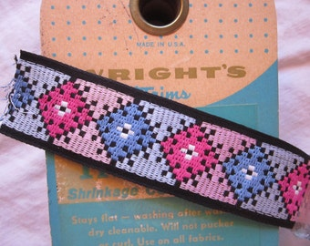 6.5 yards vintage trim -  Wrights Perma-Trim ribbon - made in Germany, all cotton - 1.375 inches wide