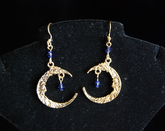 Gold and Navy Blue Swarovski Beaded Man on the Moon Earrings - FREE SHIPPING