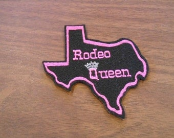 Texas Rodeo Queen Embroidered Iron on Patch ready to ship!