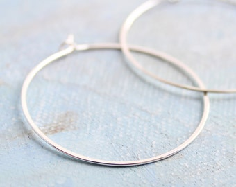 "Silver Hoop Earrings - Medium Silver Hoops ( 1.5"" ) thin hoop earrings, sterling silver hoop earings, minimalist silver earrings"