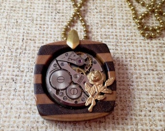 Striped Wood Pendant with Watch Movement and Brass Rose Steampunk Necklace