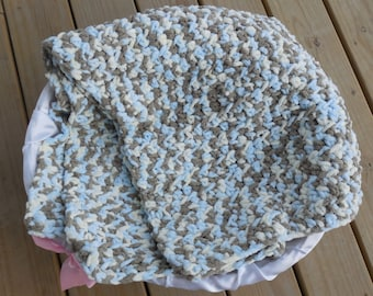 Crochet Baby Afghan Blanket, Blue, Cream and Brown Camo Photo Prop, Baby Boy Soft Afghan, Crib Sized Afghan