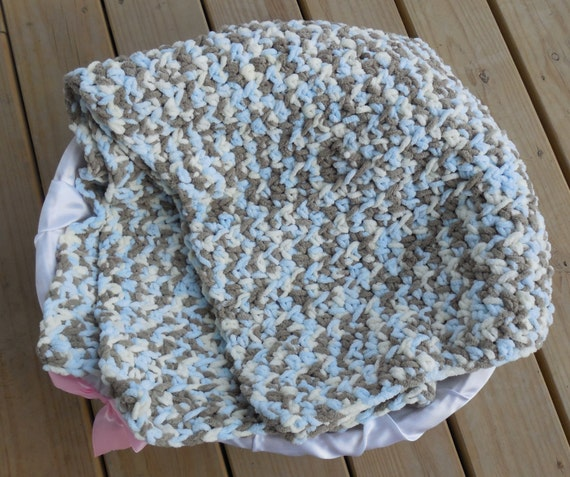 Crochet Baby Afghan Blanket Blue Cream And Brown Camo Photo