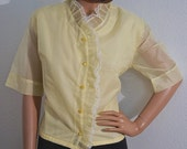 Vintage 70s Blouse / Yellow Swiss Dot Ruffle Button Front Blouse / 1970s Vintage Lace Ruffle Blouse / Dotted Swiss Blouse M L
