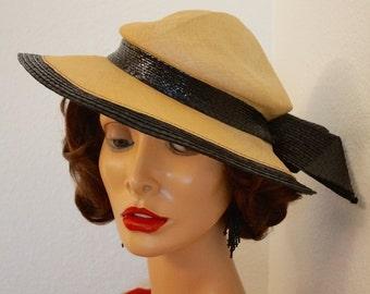 Vintage Mr John Classic Straw Hat / Wide Brim Natural Straw Tilt Hat / Designer Hat / Fedora Straw Hat