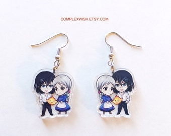 Howl's Moving Castle earrings - Howl, Sophie, and Calcifer