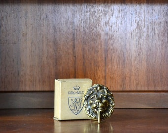 vintage small brass lion door knocker
