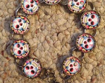 Day of the Dead Colorful Sugar Skull Bracelet