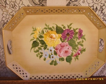 Vintage Hand Painted Floral Metal Handled Tray-Garden Patio