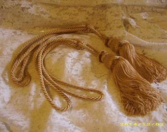 Vintage Soft Gold Silk Fringe Rope Drapery Tiebacks